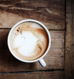 Cup of Coffee for breakfast on rustic wooden table, top view. Ca Stock Photos