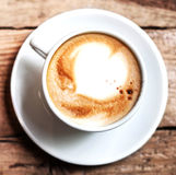 Cup of Coffee for breakfast on rustic wooden table, top view. Ca Stock Image