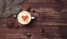 Cup of coffee and brench Stock Images