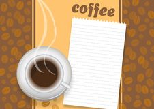 Cup of coffee on a brown background with a beans. Vector illustration Stock Image