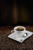 Cup of coffee on brown background Royalty Free Stock Photo