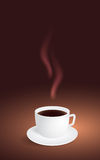 Cup of coffee on brown background Stock Photography