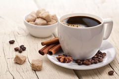 Cup of coffee with brown sugar. Royalty Free Stock Photos