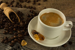 Cup of coffee and brown sugar Royalty Free Stock Photo