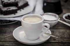 Cup of coffee with brownies Royalty Free Stock Photography
