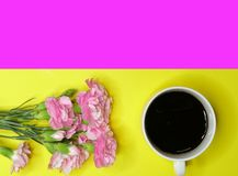 A cup of coffee and a bunch of carnations. A cup of black coffee and a branch of beautiful pink carnations on a yellow and magenta background. Directly above Royalty Free Stock Photography