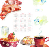 Cup of coffee with buns, Calendar for 2013. Cup of coffee with buns, watercolor illustration, Calendar for 2013 Stock Photography