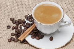 Cup of coffee on a burlap. Royalty Free Stock Photo