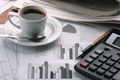 Cup coffee on  business news Stock Photography