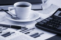 Cup coffee  business news Stock Image