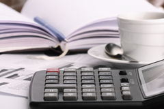 Cup coffee on  business news Stock Photos