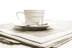Cup coffee on  business news Stock Images