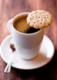 Cup of coffee and butter biscuit Stock Photography