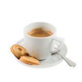 Cup of coffee with butter cookies isolated Stock Photos