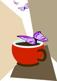 Cup of coffee and butterflies Royalty Free Stock Photography