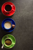 Cup of coffee, cacao and tea Stock Images