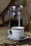 Cup of Coffee and Cafetiere Royalty Free Stock Photo