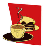 A cup of coffee with cake. Decorative illustration Stock Photography