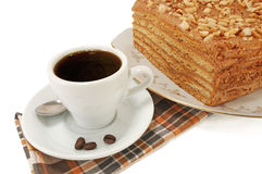 Cup of coffee and cake Royalty Free Stock Photos