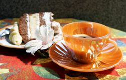Cup of coffee with cake Stock Images