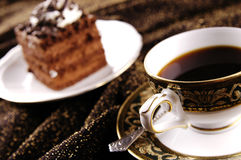 Cup of coffee with cake Stock Photography