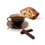 Cup of coffee with cake and chocolate. Stock Photos