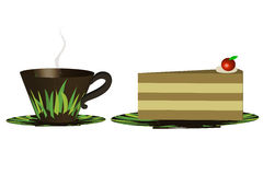 Cup of coffee with cake - Illustration Stock Images