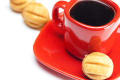 Cup with coffee and cake nut Royalty Free Stock Photo