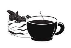 Cup of coffee and cake pavlova. Cup of coffee a silhouette, and cake pavlova stock illustration