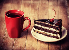 Cup of coffee with cake Royalty Free Stock Images