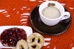 Cup coffee, cake and saucer with jam. Stock Photo