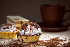 Cup of coffee and Cake on a table Stock Photos