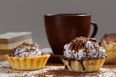 Cup of coffee and Cake on a table Royalty Free Stock Photos