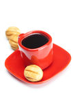 Cup with coffee and cakes Stock Images