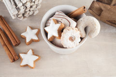 Cup of coffee with cakes. Bowl with Christmas cookies and cakes in bright colors Royalty Free Stock Photo