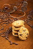 Cup of coffee and cakes. Cup of coffee and chocolate cookies Royalty Free Stock Photo