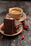 Cup of coffee and cakes desert simple composition village style Royalty Free Stock Photos