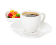 Cup of coffee and candied Stock Photography