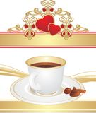 Cup with coffee and candies Royalty Free Stock Images