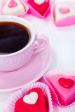 Cup with coffee and candies Royalty Free Stock Photography