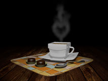 A Cup of coffee with candies Stock Photography
