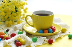 Cup of coffee and candies Stock Photo