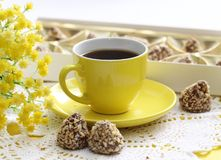 Cup of coffee and candies Stock Images