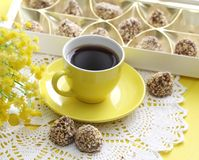 Cup of coffee and candies Stock Photography