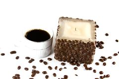 Cup of Coffee and Candle Royalty Free Stock Image
