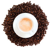 Cup of coffee cappuccino. Isolated over white background Stock Images
