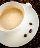 Cup of coffee cappuccino. White cup of coffee cappuccino Royalty Free Stock Image