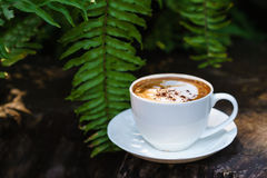 Cup of coffee cappuccino art on wood floor with green leave fram Stock Photos