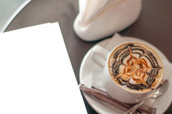 Cup of coffee and cappuccino blank letter. Art latte royalty free stock images
