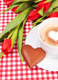 Cup of coffee or cappuccino with chocolate heart Royalty Free Stock Photos